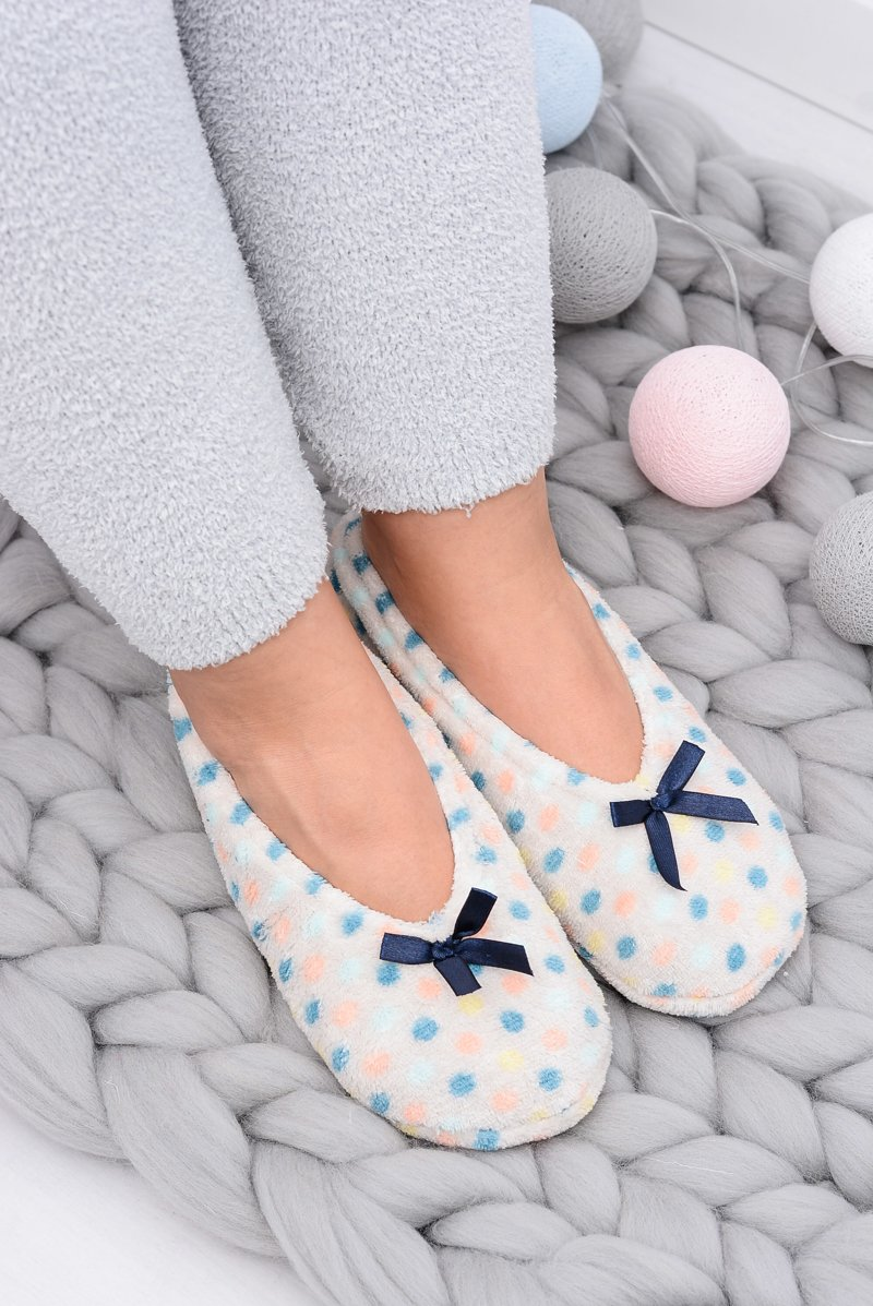 Ballerina Women Beige Slippers In Dots SOXO