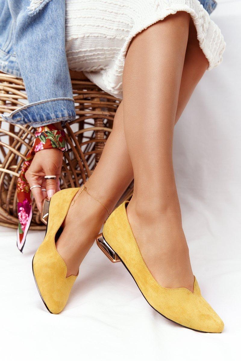 Ballerinas On Gold Heels Vinceza 21-10601 Yellow