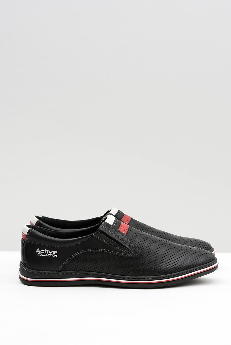 Black Leather Men's Perforated Slip-on Shoes Mello