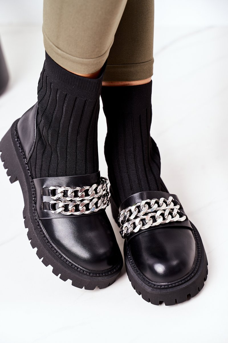Boots With Chain Black Walk This Way