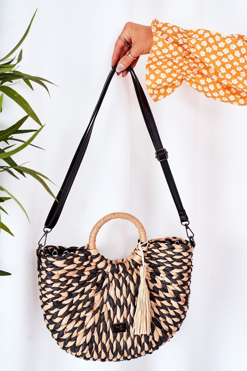 Braided Handbag Basket NOBO XK0490 Beige-Black