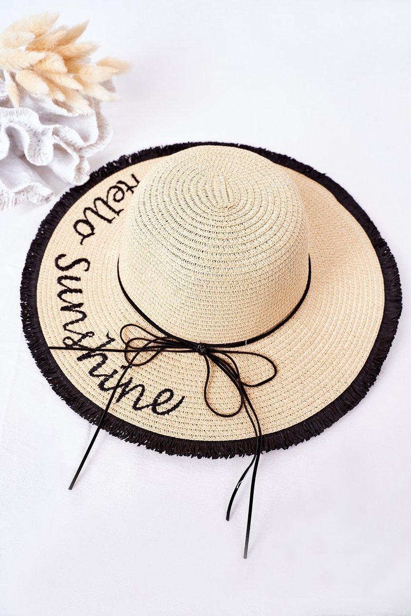 Braided Hat BRUNO ROSSI Hello Sunshine Beige-Black