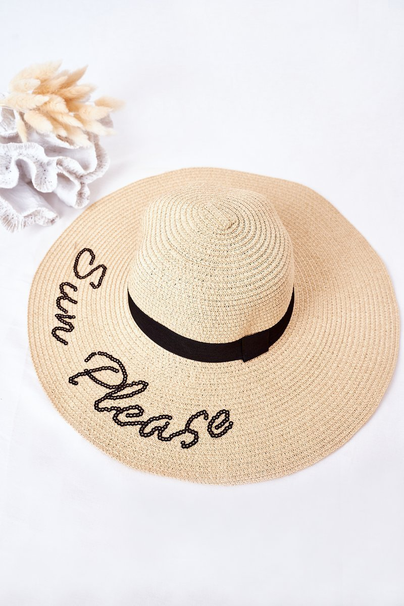 Braided Hat With Sequins BRUNO ROSSI Sun Please Beige