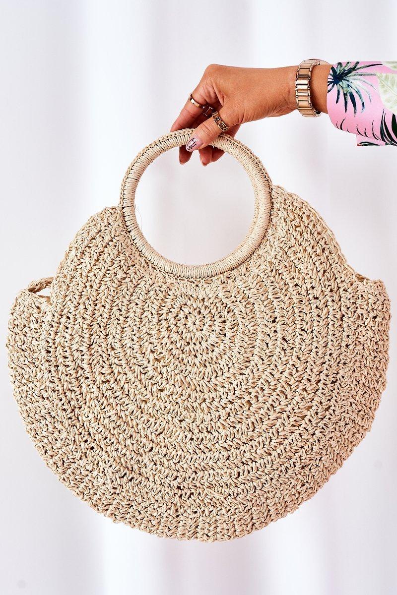 Braided Round Bag BRUNO ROSSI Beige