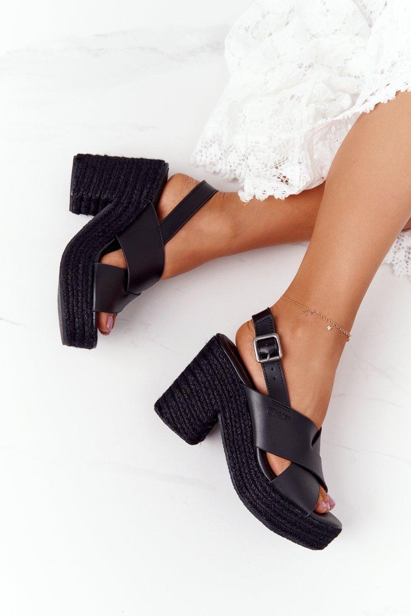 Braided Sandals On A Block Heel Big Star HH274387 Black