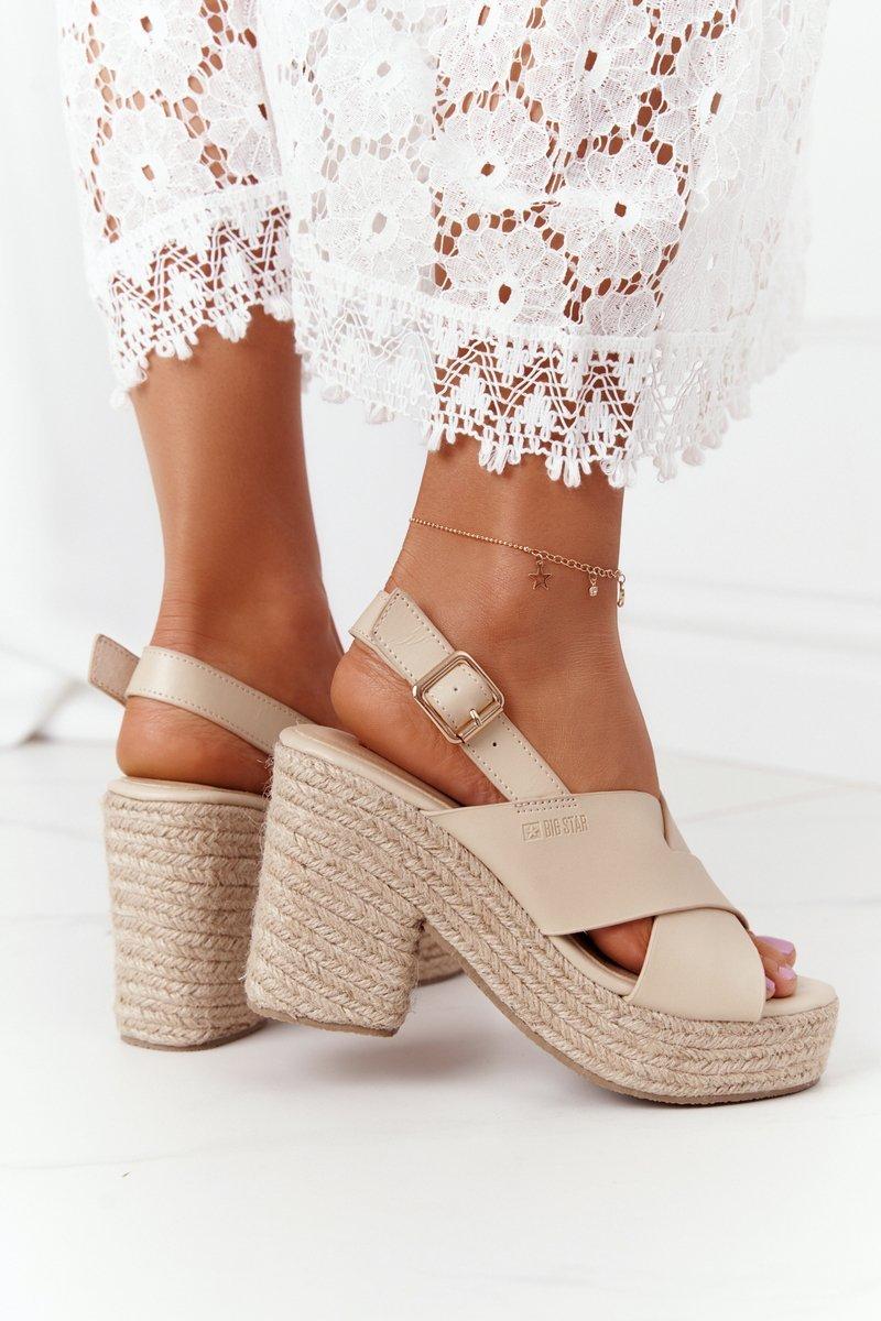 Braided Sandals On A Block Heel Big Star HH274388 Beige