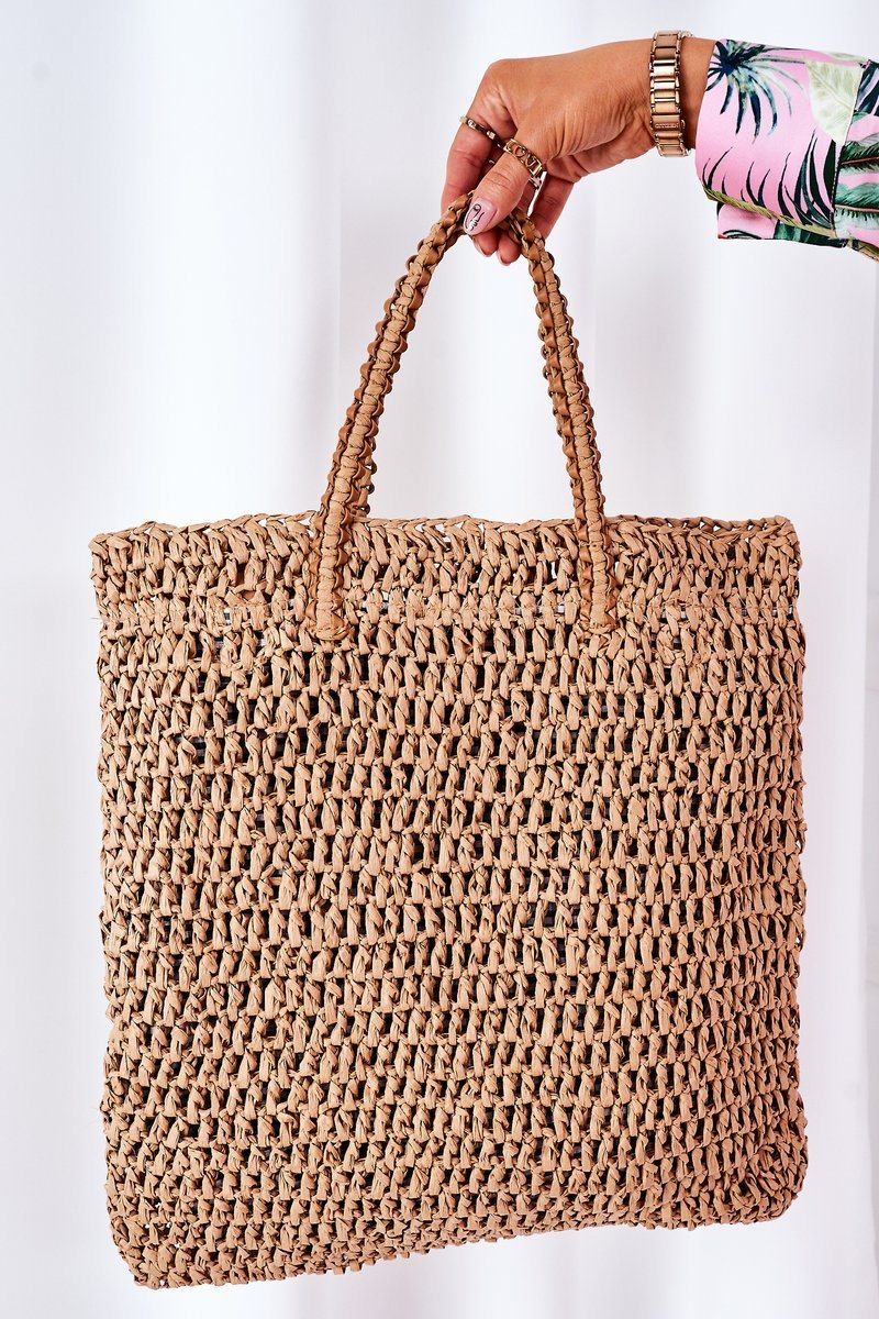 Braided Shopper Bag BRUNO ROSSI Camel