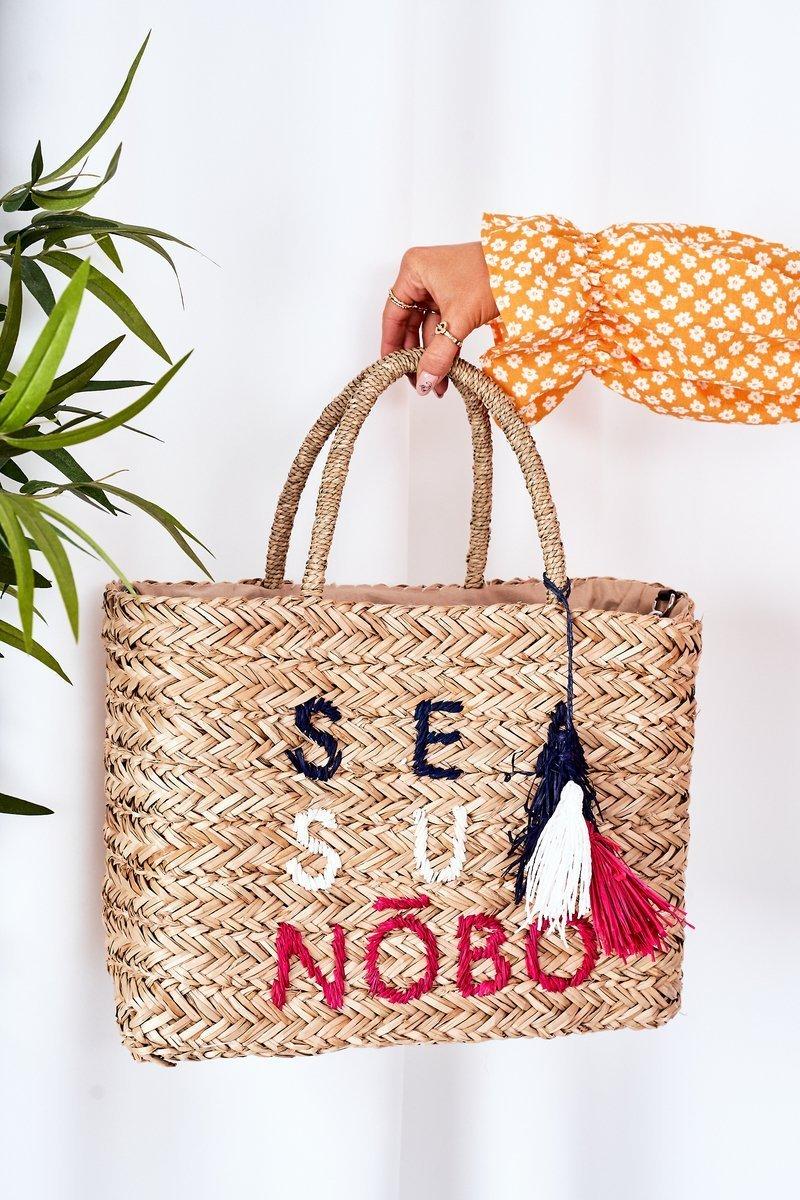 Braided Shopper Beach Bag NOBO XK00410 Beige