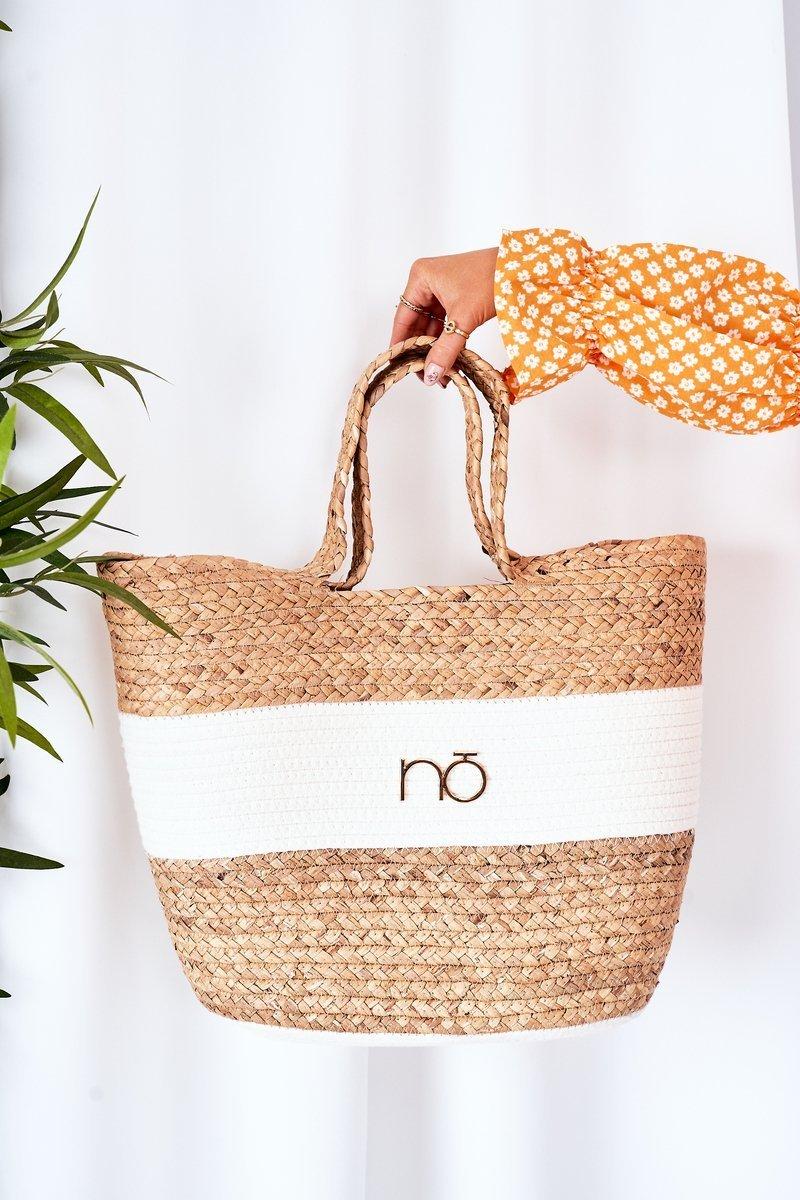 Braided Shopper Beach Bag NOBO XK0260 Beige
