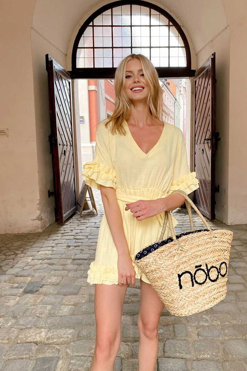 Braided Shopper Beach Bag NOBO XK0340 Beige-Black
