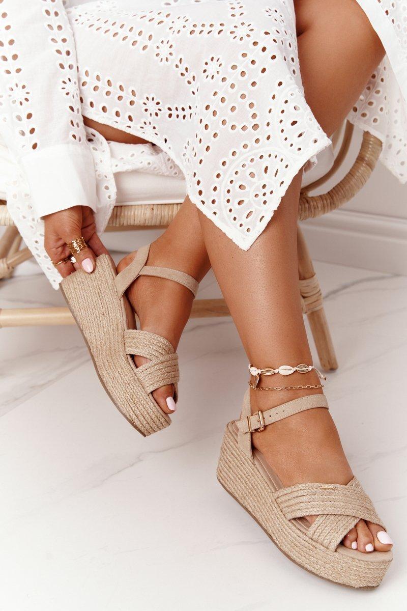 Braided Wedge Sandals Big Star FF274761 Beige