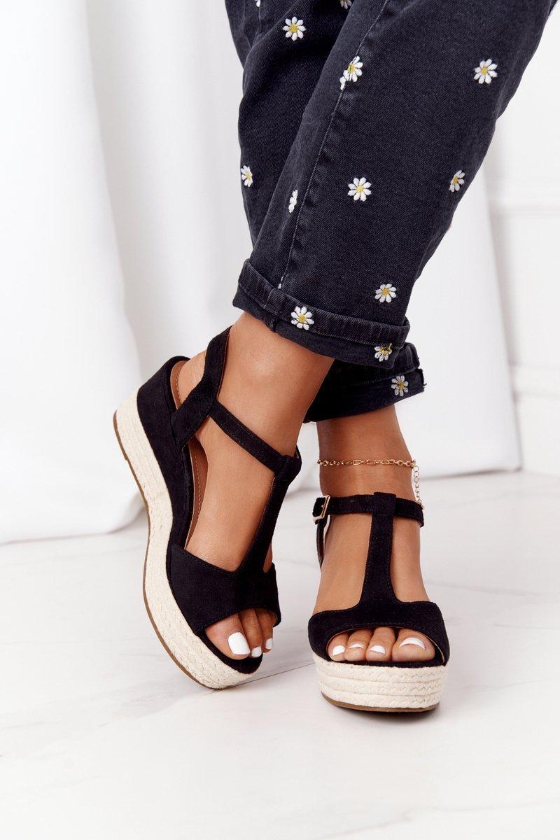 Braided Wedge Sandals Black Graciosa