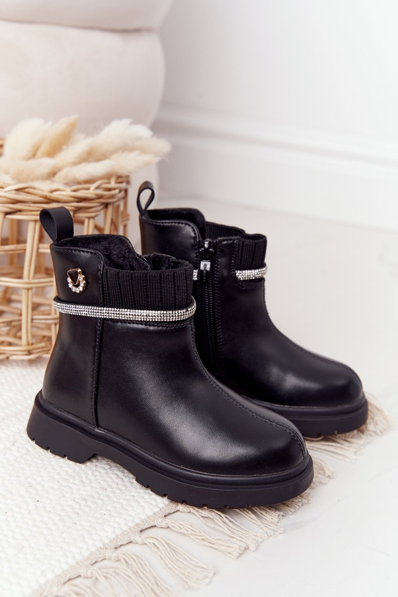 Children's Boots With Sequins Black Toffees