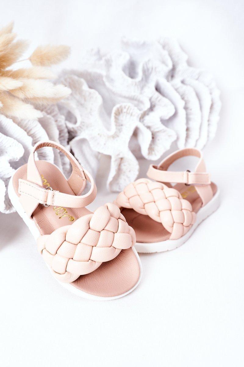 Children's Braided Sandals Pink Adella