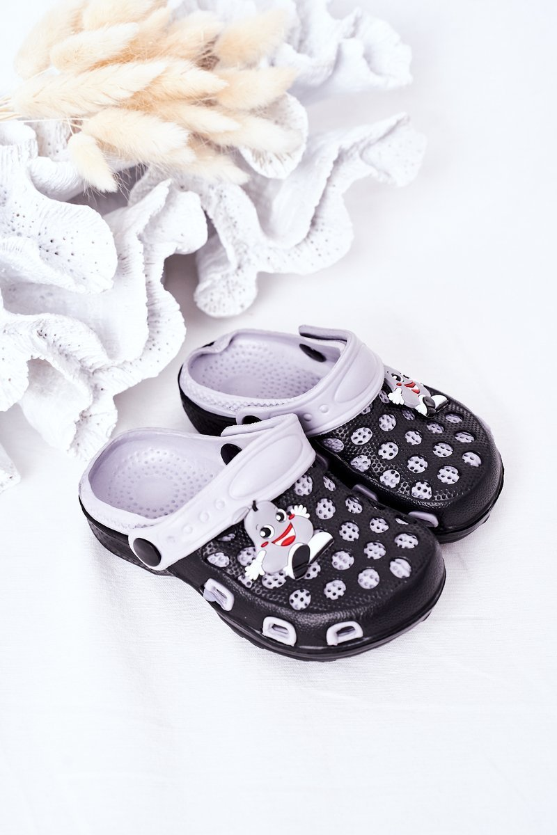 Children's Foam Slippers Crocs Black-Grey Jupiter