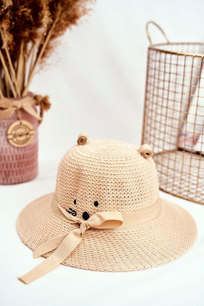 Children's Hat With Kitty BRUNO ROSSI Beige