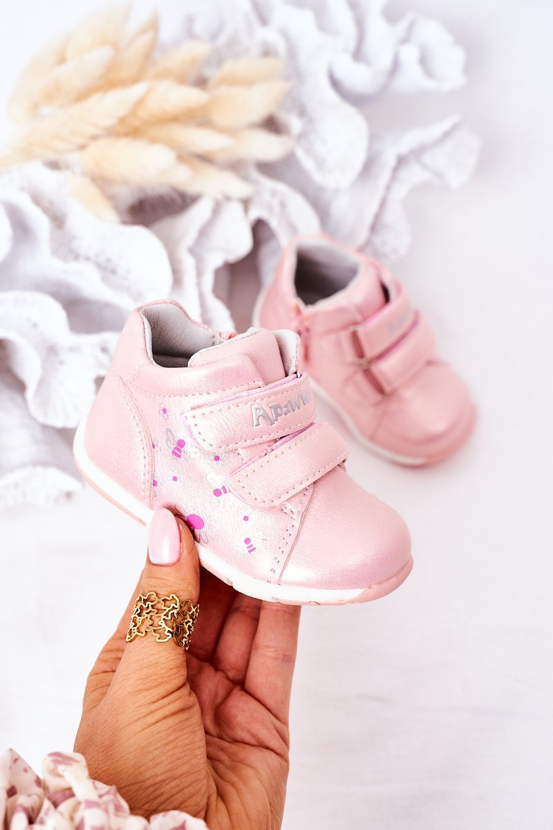 Children's Leather Shoes With Velcro Navy Pink Milo