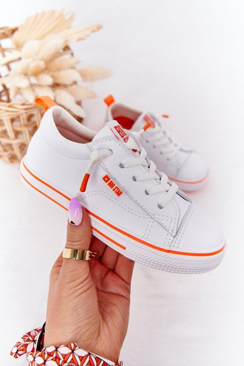 Children's Leather Sneakers BIG STAR HH374036 White-Orange