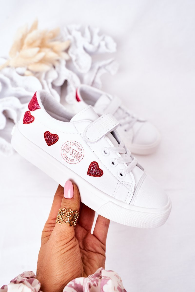 Children's Leather Sneakers With Velcro BIG STAR HH374001 White