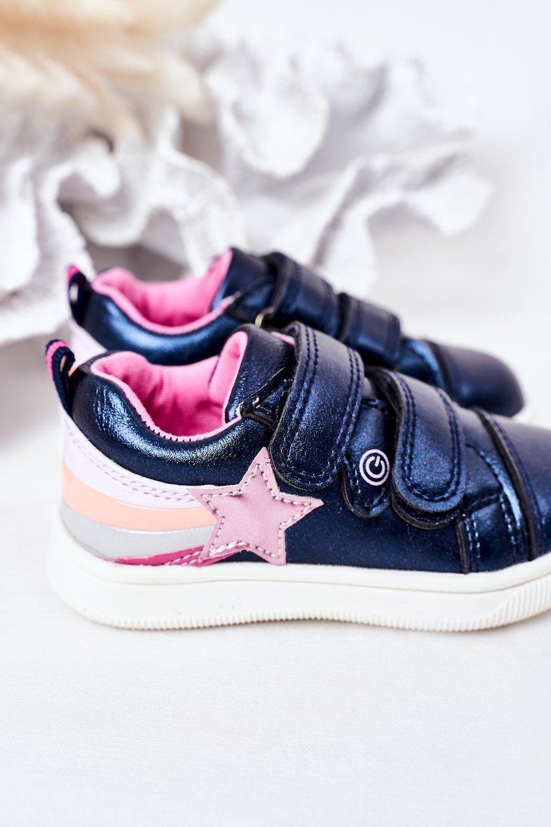 Children's Leather Sport Shoes With Rainbow Navy Blue Jasmine