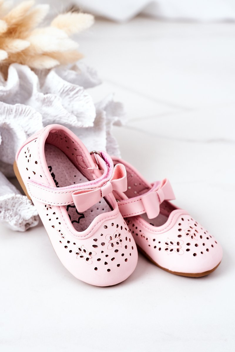 Children's Leather Velcro Ballerinas Pink Mireia