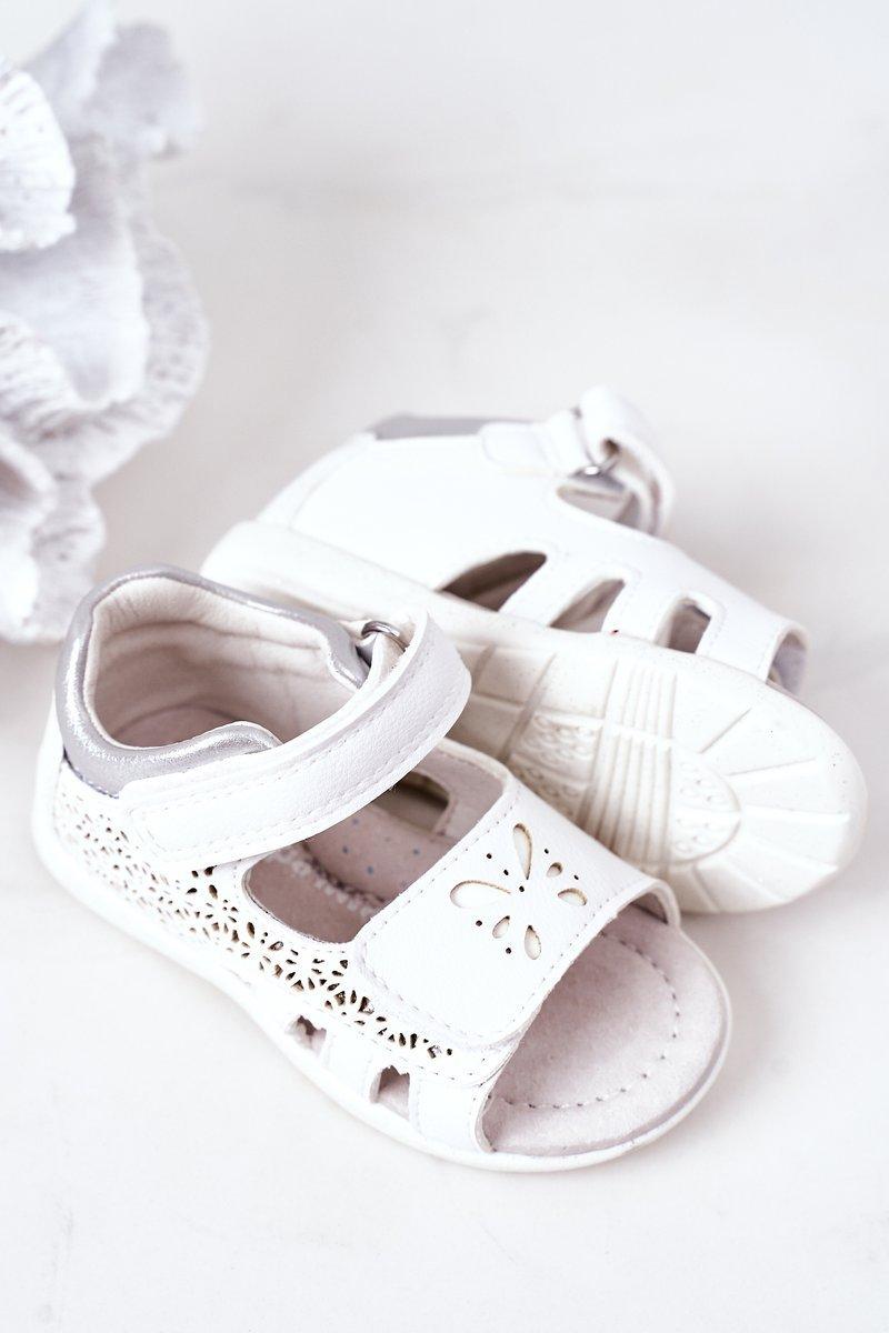 Children's Leather Velcro Sandals White Meera