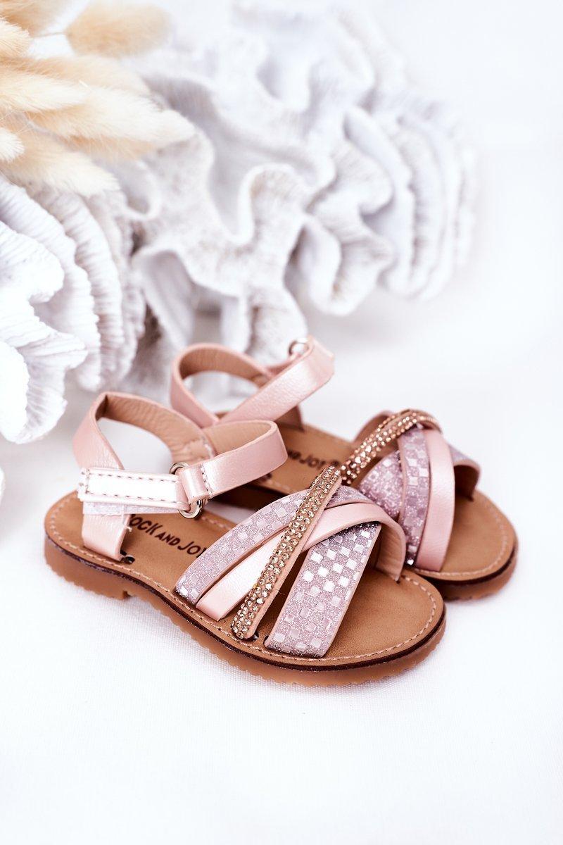 Children's Sandals With Sequins Pink Becky