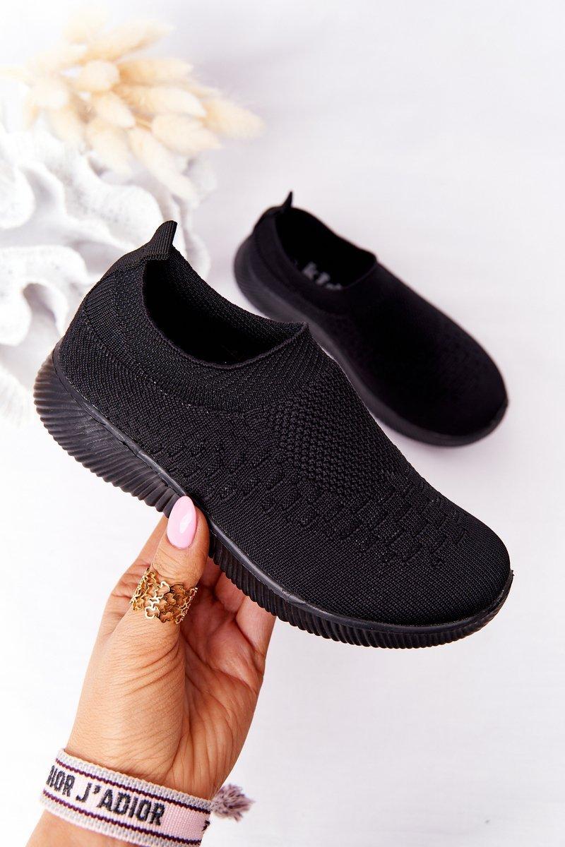 Children's Slip-On Sneakers Black School Trip