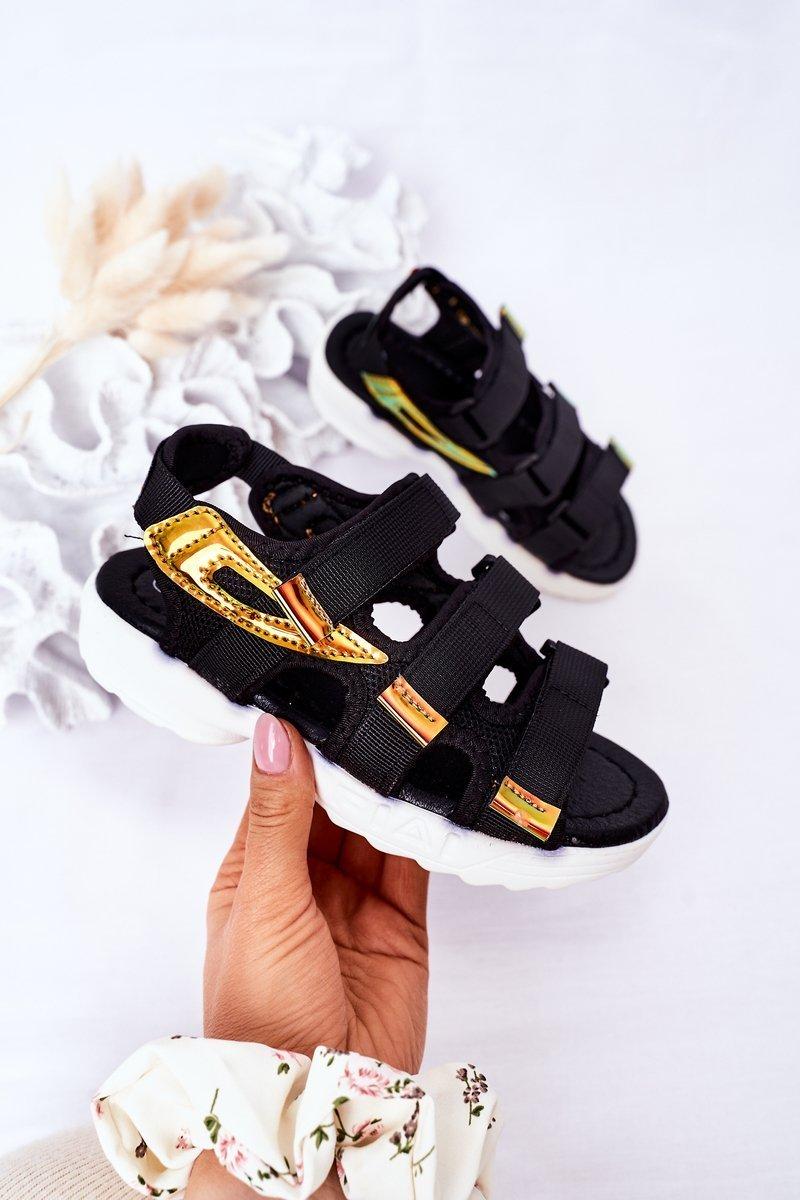 Children's Sport Velcro Sandals Black Flyn