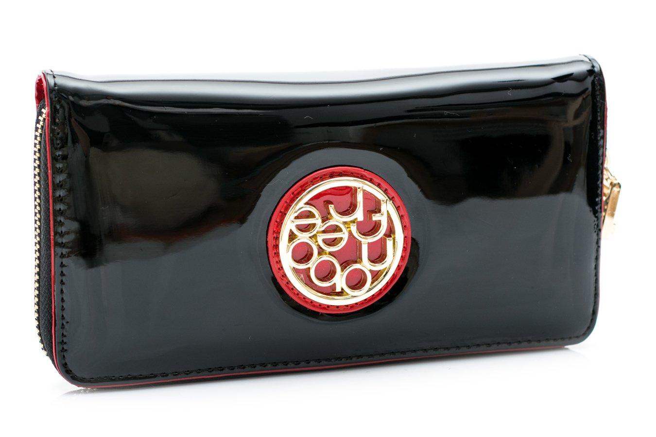 Duży Damski Czarny Lakierowany Portfel Nobo Czerwień