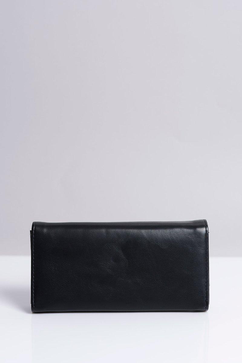 Duży Damski Czarny Portfel Serduszko