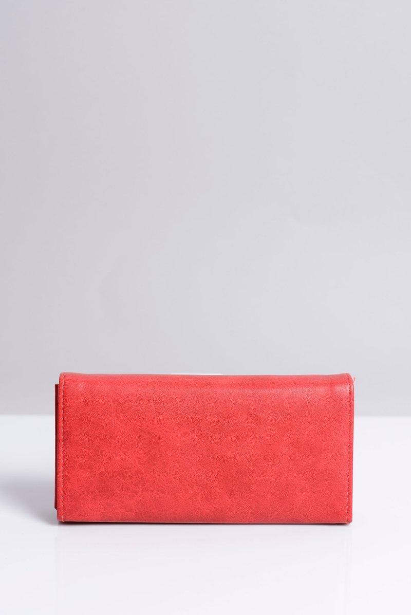 Duży Damski Czerwony Portfel Serduszko