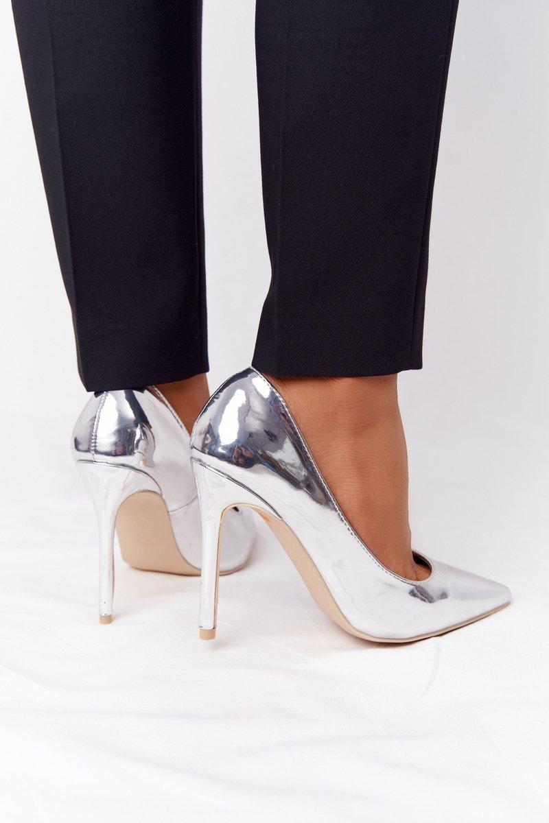 Elegant Patent Leather High Heels Lu Boo Silver