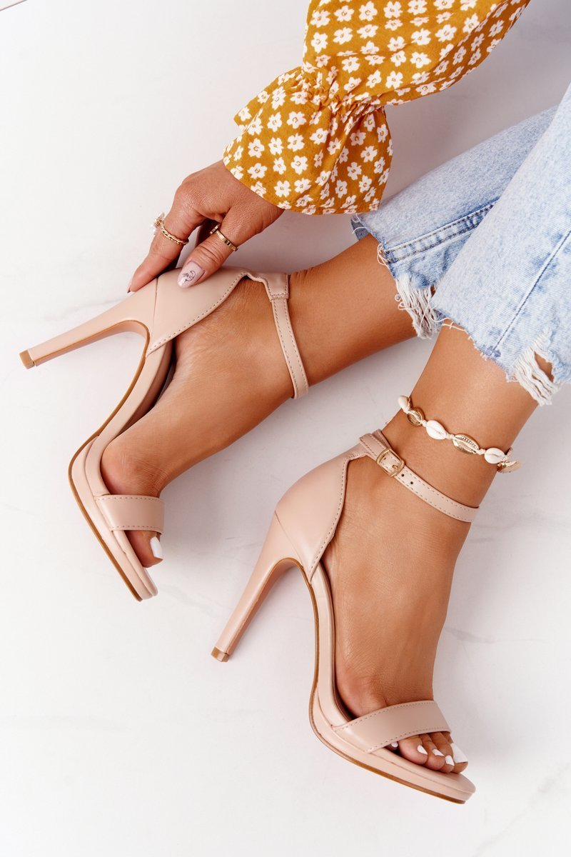 Elegant Sandals On High Heel Nude Glamour