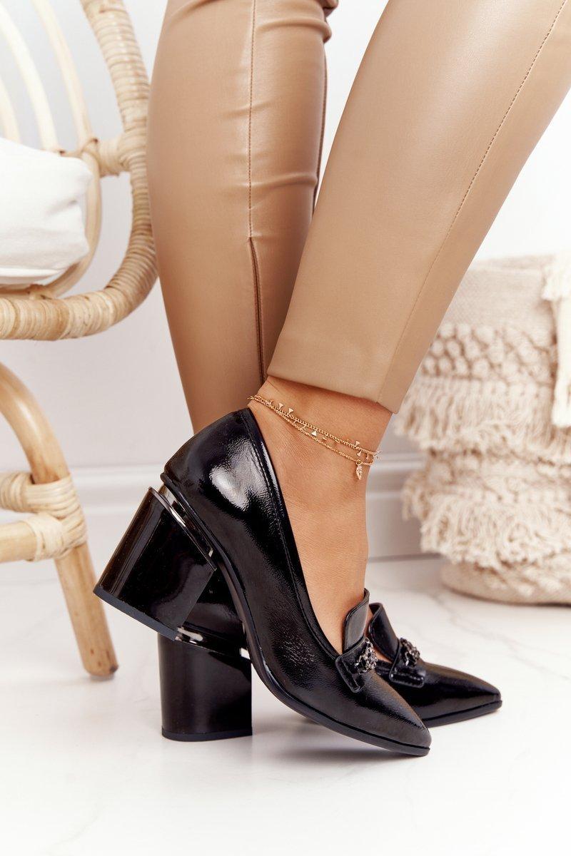 Elegant Shoes On A Block Heel S.Barski Premium A14 Black