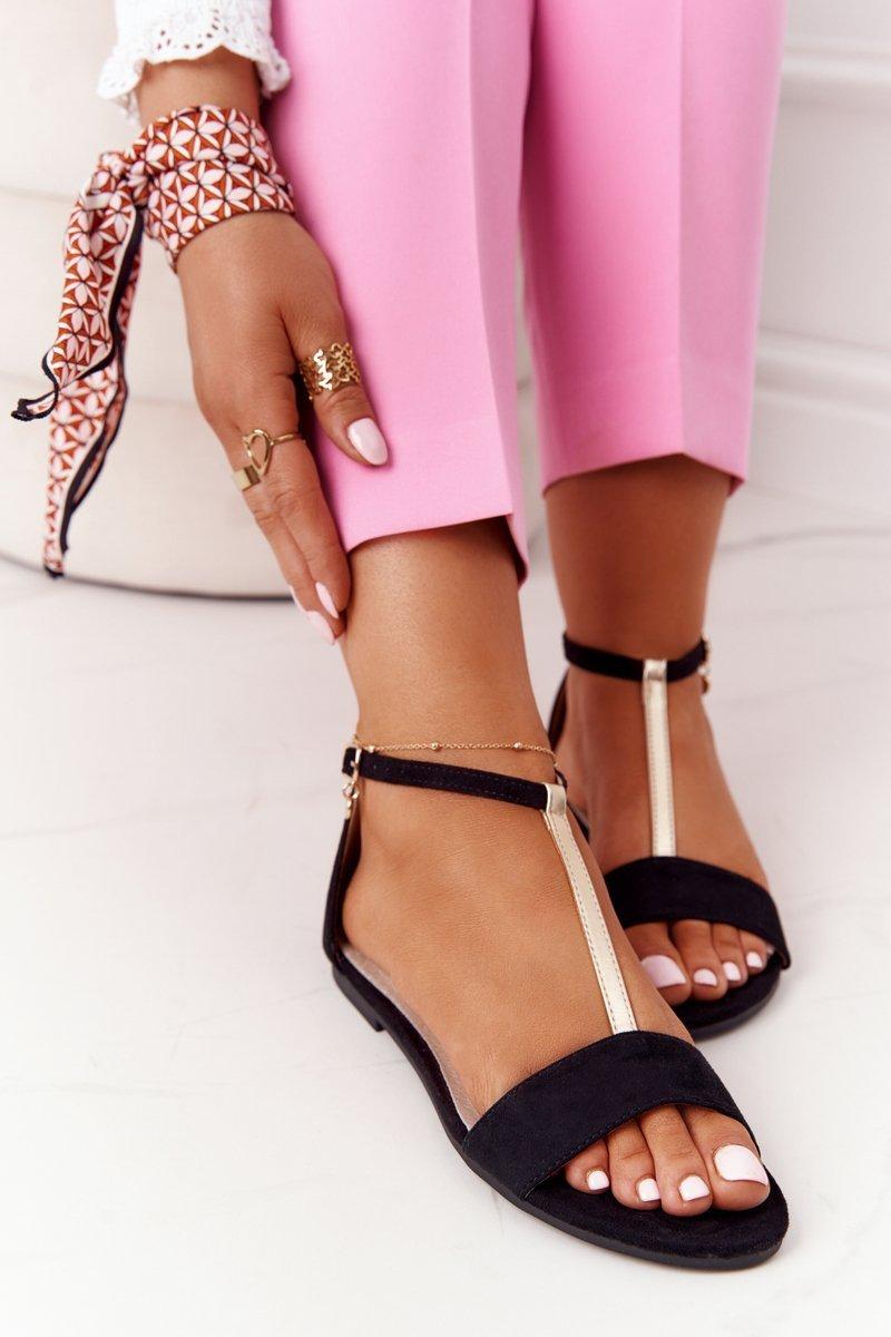 Elegant Suede Sandals S.Barski 541-7 Black