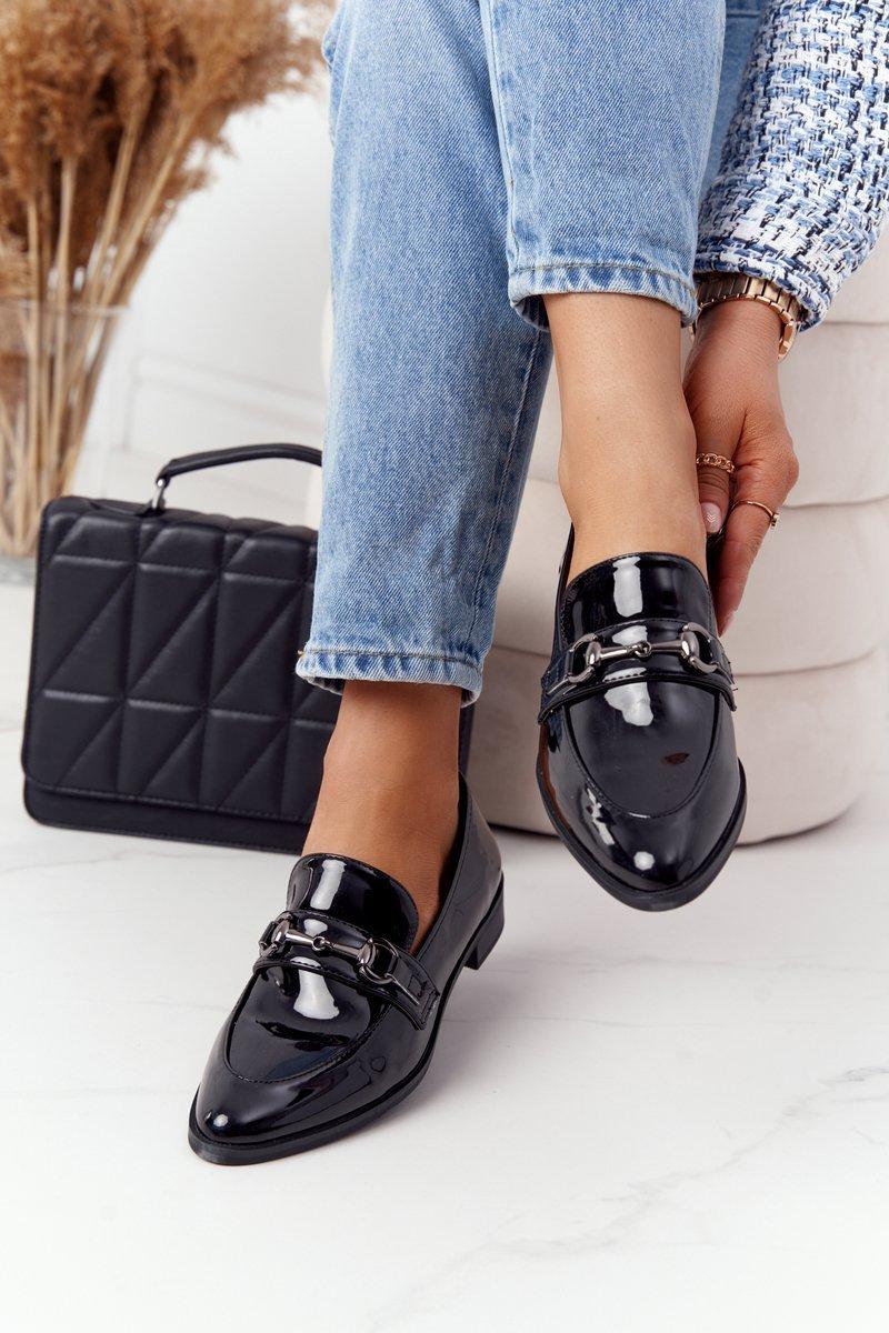 Elegant Women's Loafers S.Barski Patent Black
