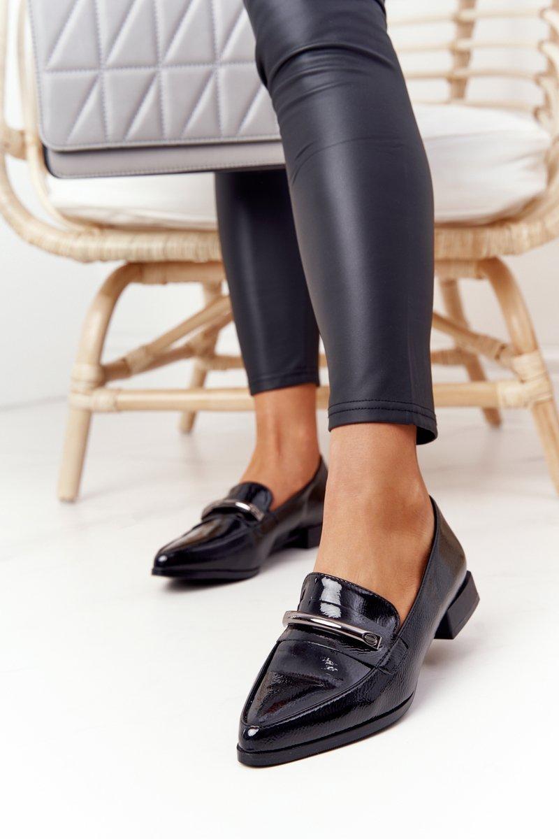 Elegant Women's Loafers S.Barski Premium Patent Black