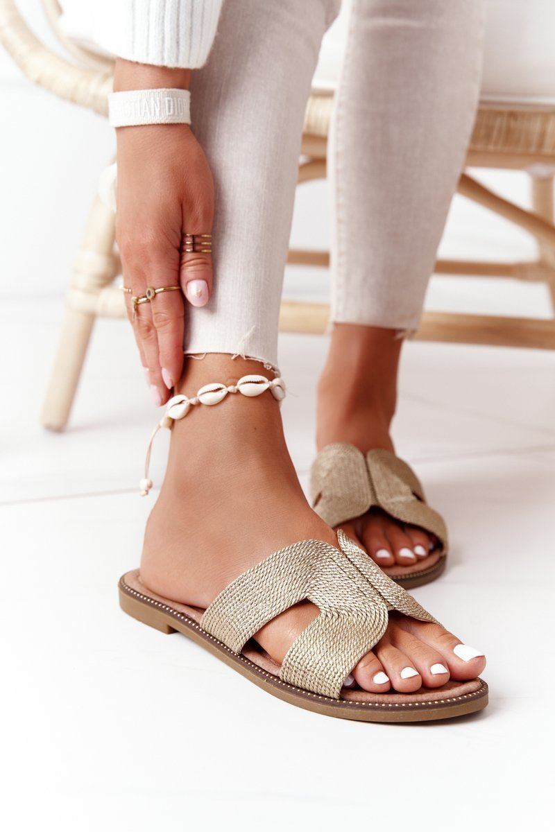 Elegant Women's Slippers S.Barski Gold