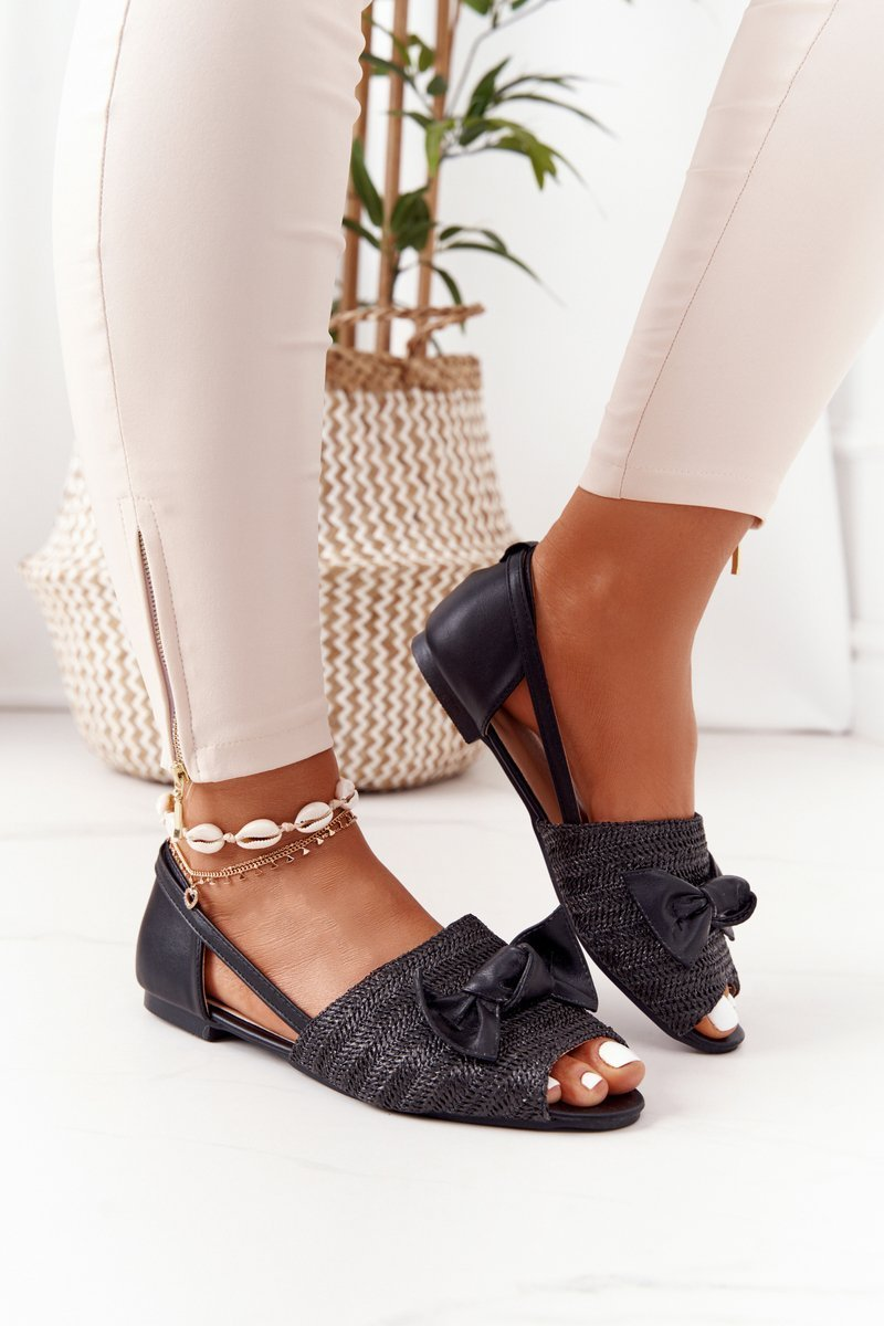 Flat Braided Sandals Lu Boo Black