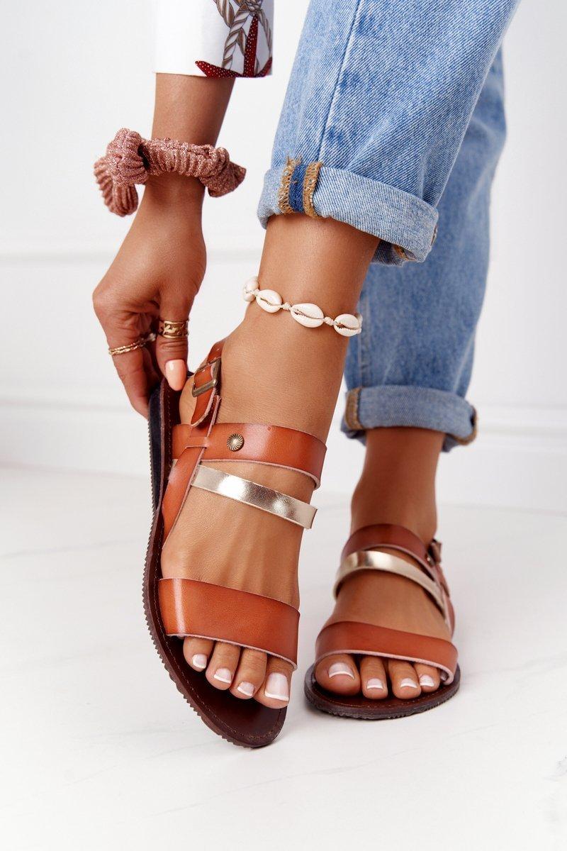 Flat Women's Sandals Camel-Gold Doris