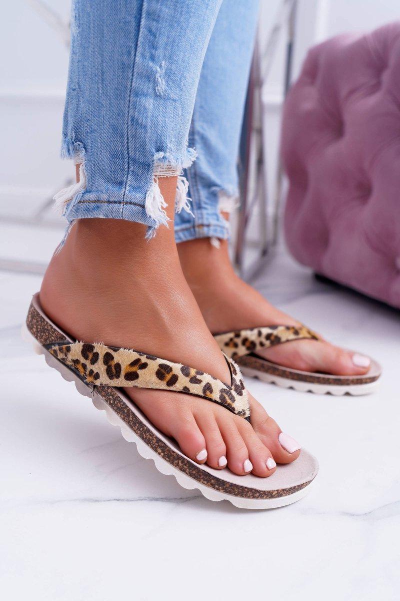 Flip-flops On The Cork Sole Lu Boo Leopard