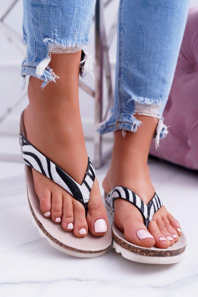 Flip-flops On The Cork Sole Lu Boo Zebra