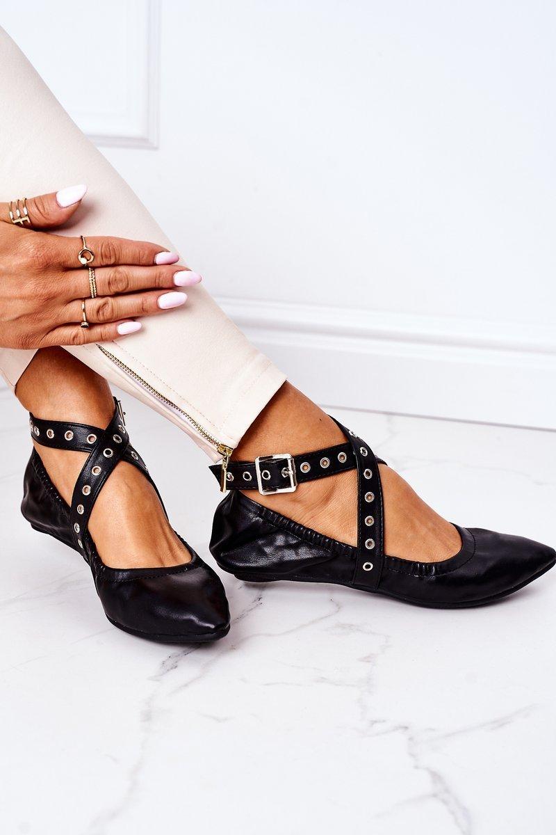 Folded Leather Ballerinas Lu Boo Black