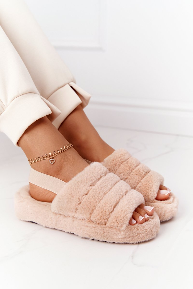 Furry Slippers On The Platform Beige Snowflake