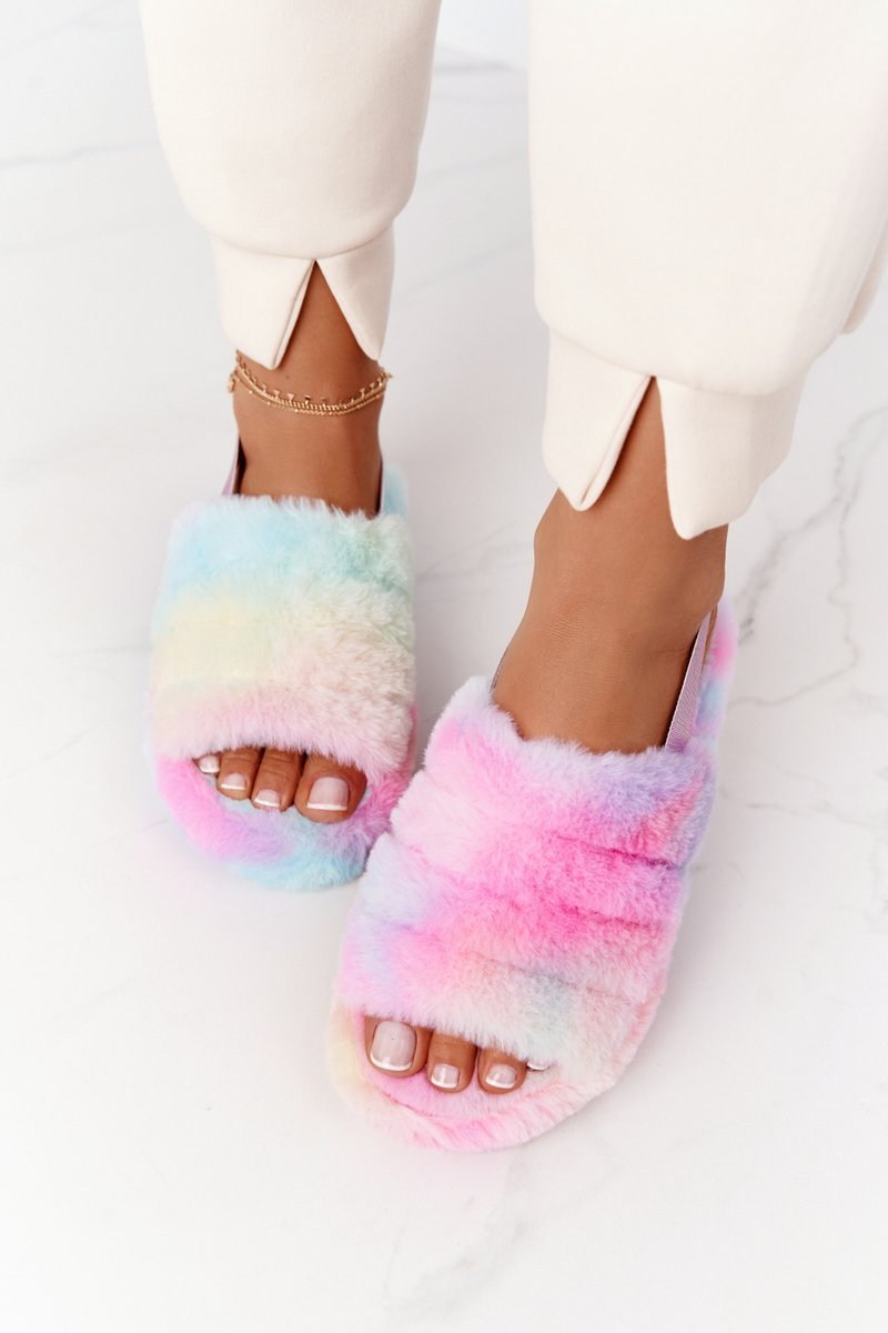 Furry Slippers On The Platform Colorful Snowflake