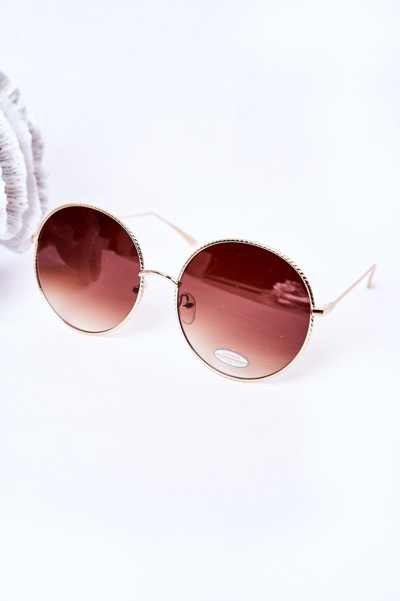 Gold Round Sunglasses With Brown Ombre Lenses