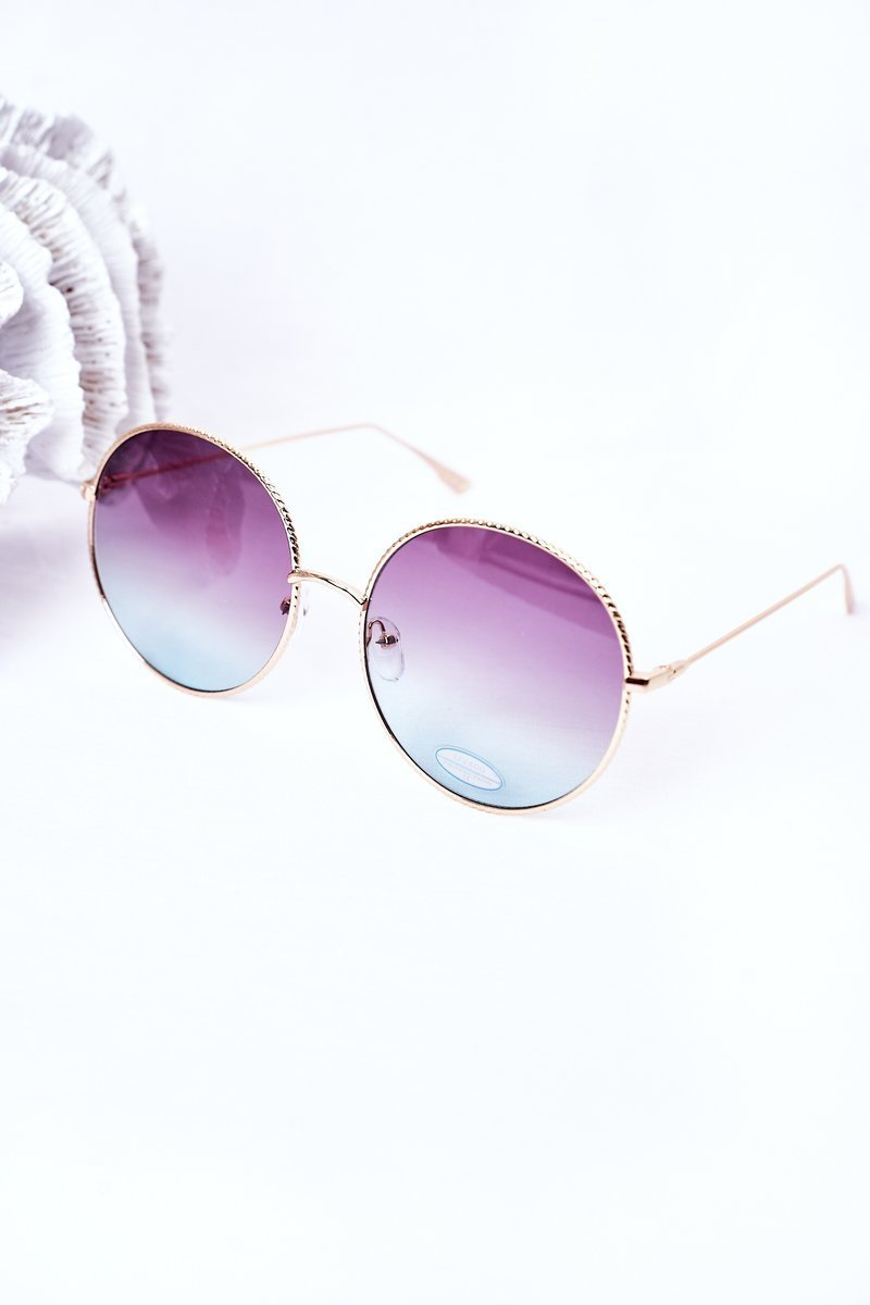 Gold Round Sunglasses With Pink-Blue Ombre Lenses