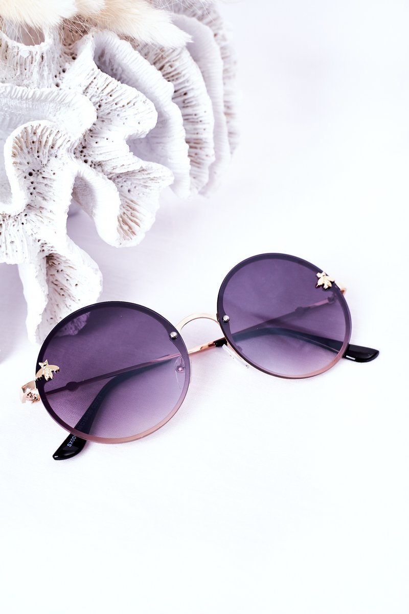 Gold Sunglasses With A Fly Dark Brown Ombre