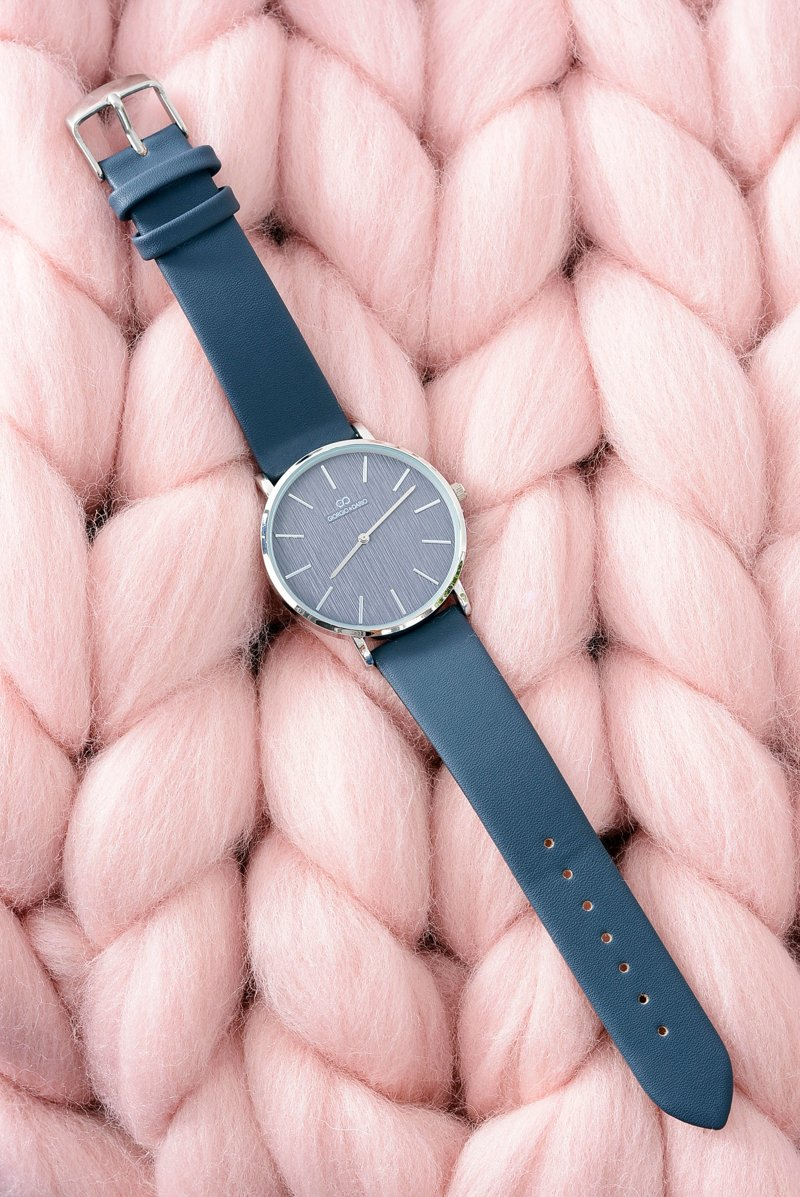 Granatowy Stylowy Skórzany Damski Zegarek Giorgio&Dario